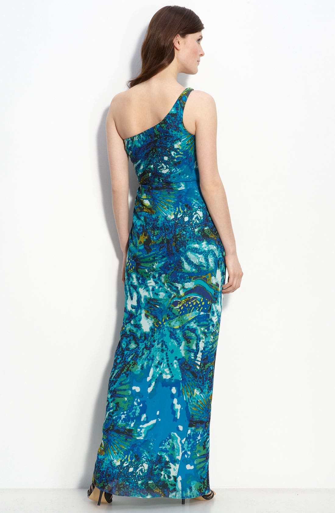 Alternate Image 2  - Adrianna Papell One Shoulder Chiffon Gown (Petite)