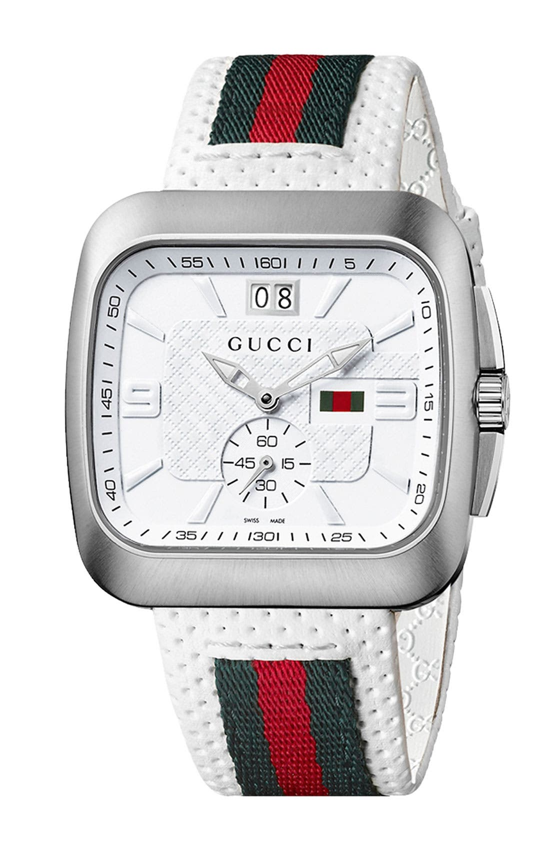 Alternate Image 1 Selected - Gucci 'Coupe' Leather Strap Watch, 40mm