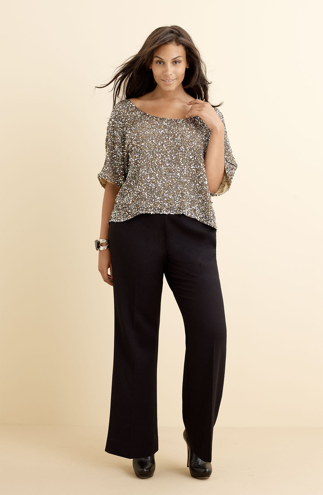 Alternate Image 2  - Vince Camuto Sequined Silk Blouse (Plus)