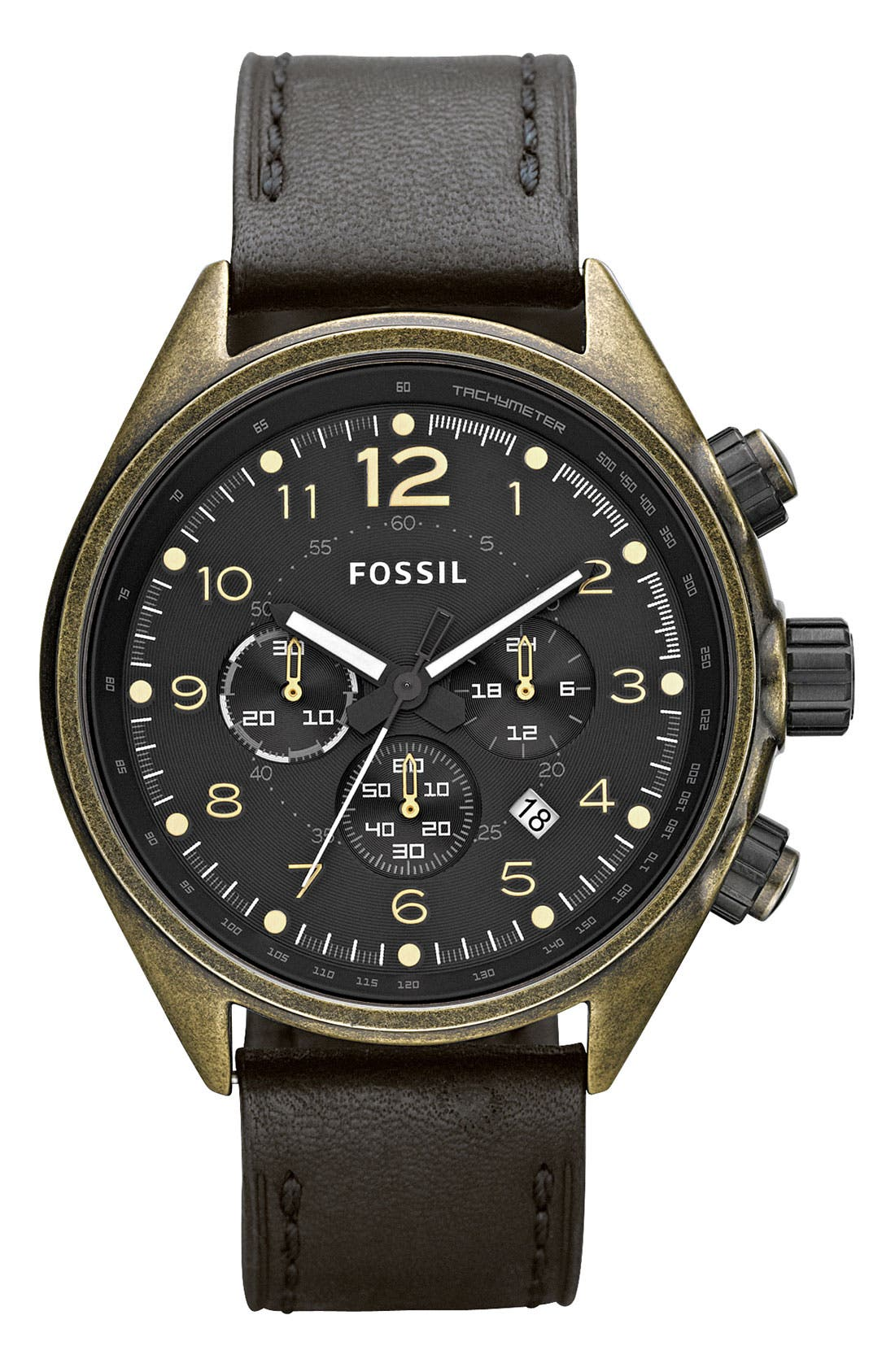 Alternate Image 1 Selected - Fossil Chronograph Leather Strap Watch
