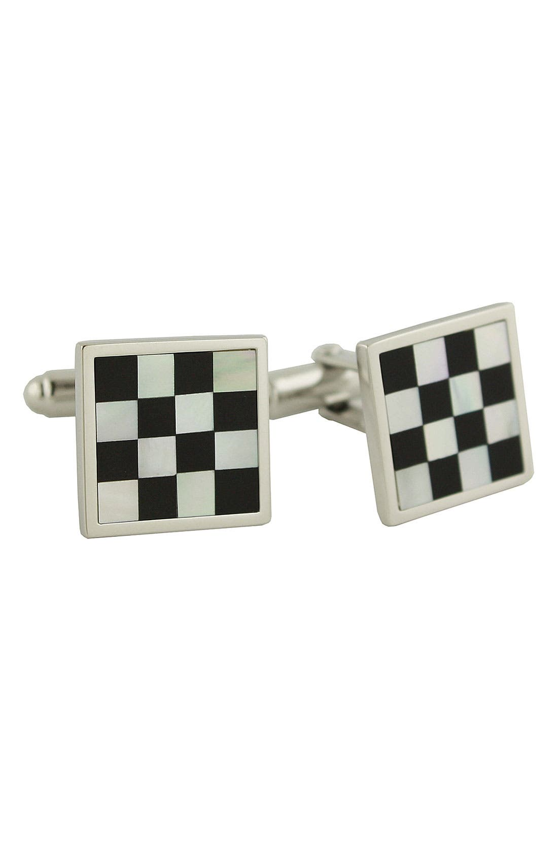 Main Image - David Donahue Checkerboard Sterling Silver Cuff Links