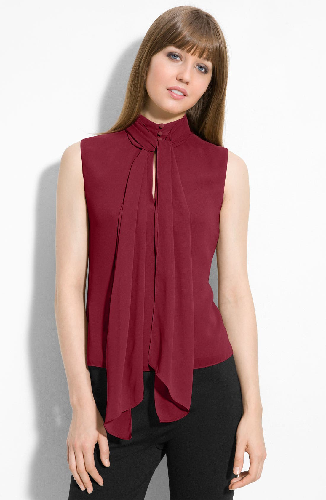 Main Image - Vince Camuto Sleeveless Tie Neck Blouse (Petite)