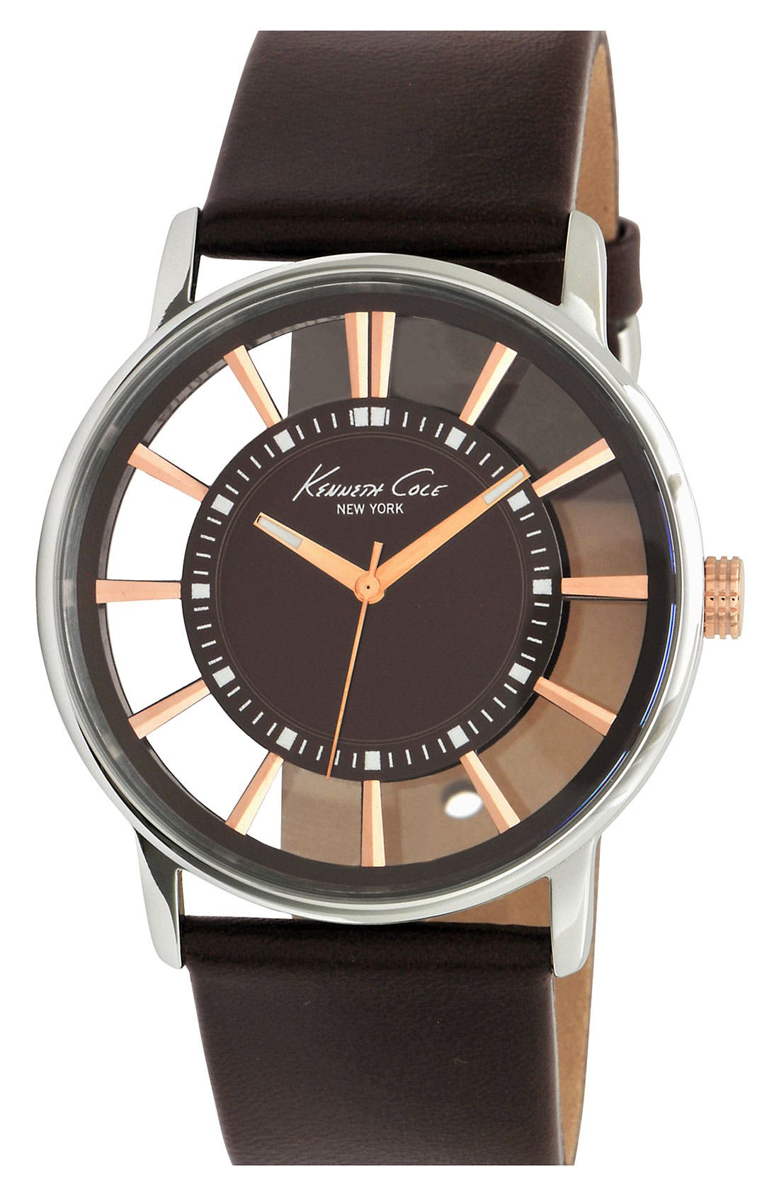 Main Image - Kenneth Cole New York Round Transparent Dial Watch, 43mm