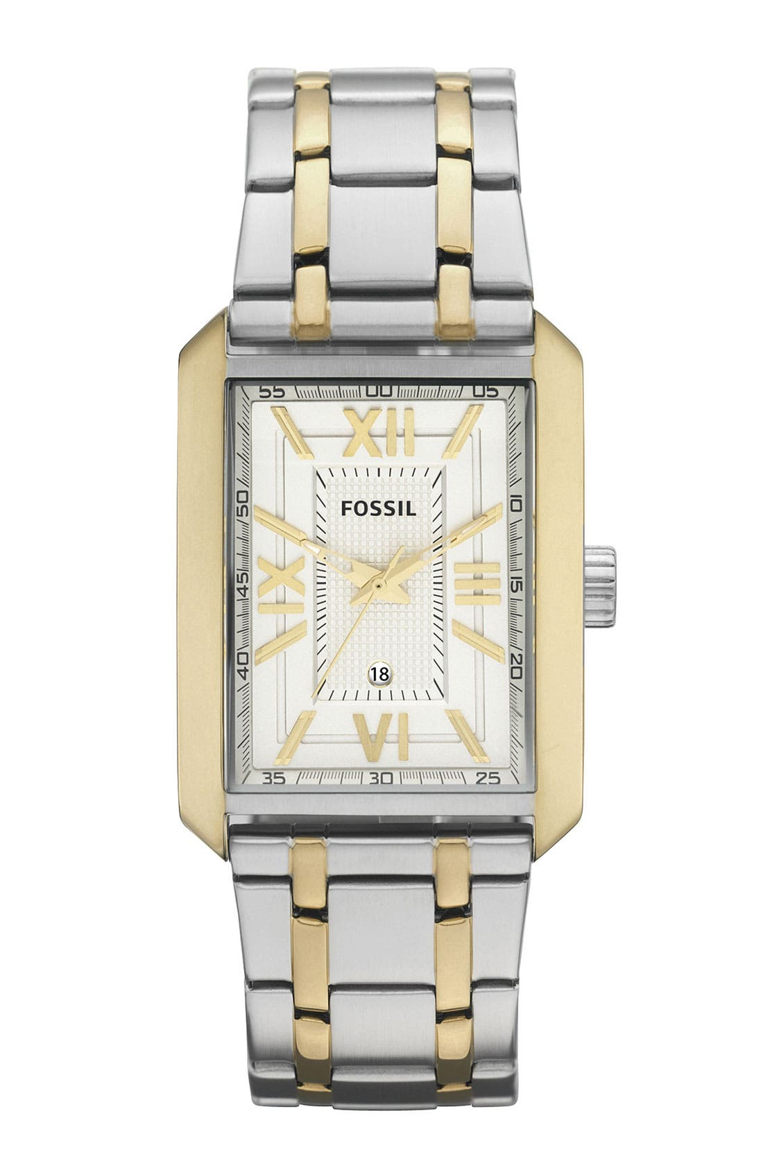 Alternate Image 1 Selected - Fossil 'Franklin' Square Case Watch