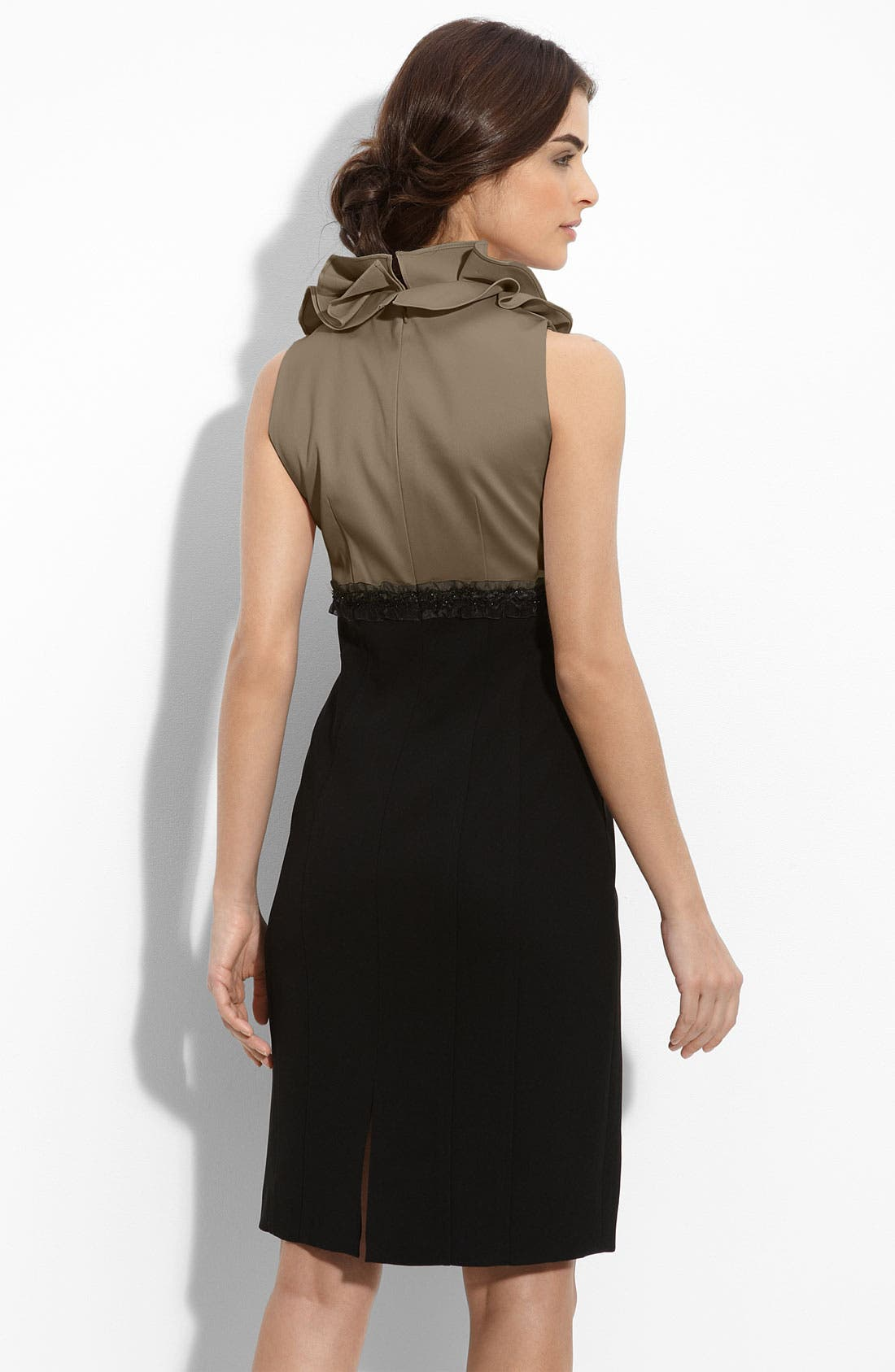 Alternate Image 2  - JS Collections Ruffle Neck Satin & Crepe Sheath Dress
