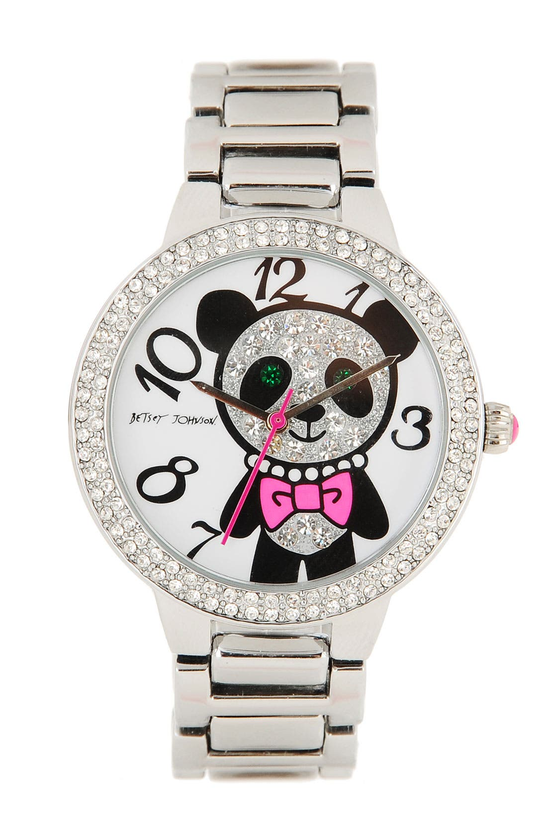 Alternate Image 1 Selected - Betsey Johnson 'Bling Bling Time' Panda Dial Bracelet Watch