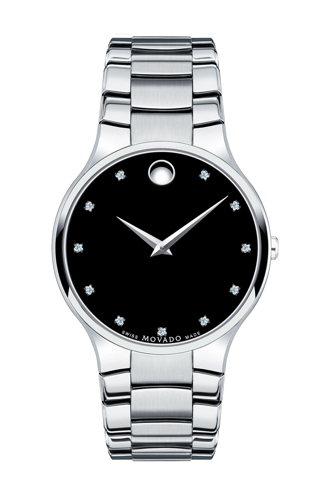 Main Image - Movado 'Serio' Diamond Index Bracelet Watch, 38mm