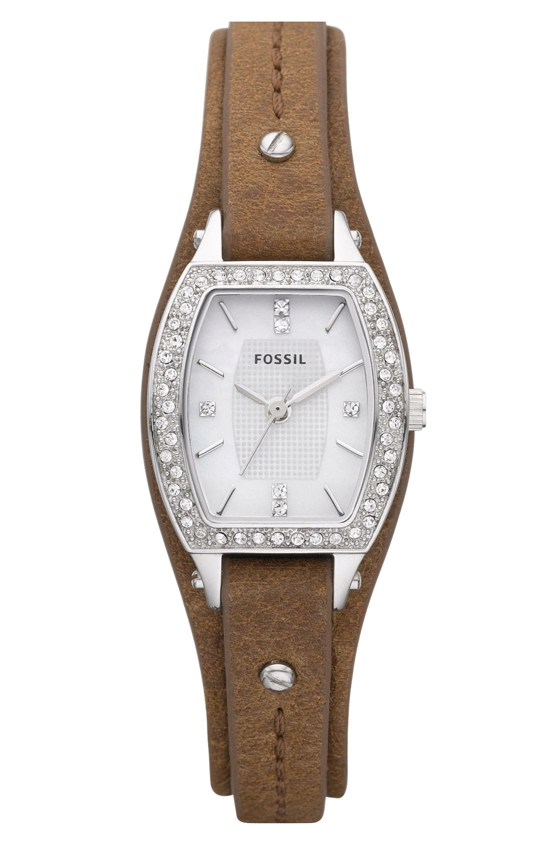 Main Image - Fossil Crystal Accent Leather Cuff Watch