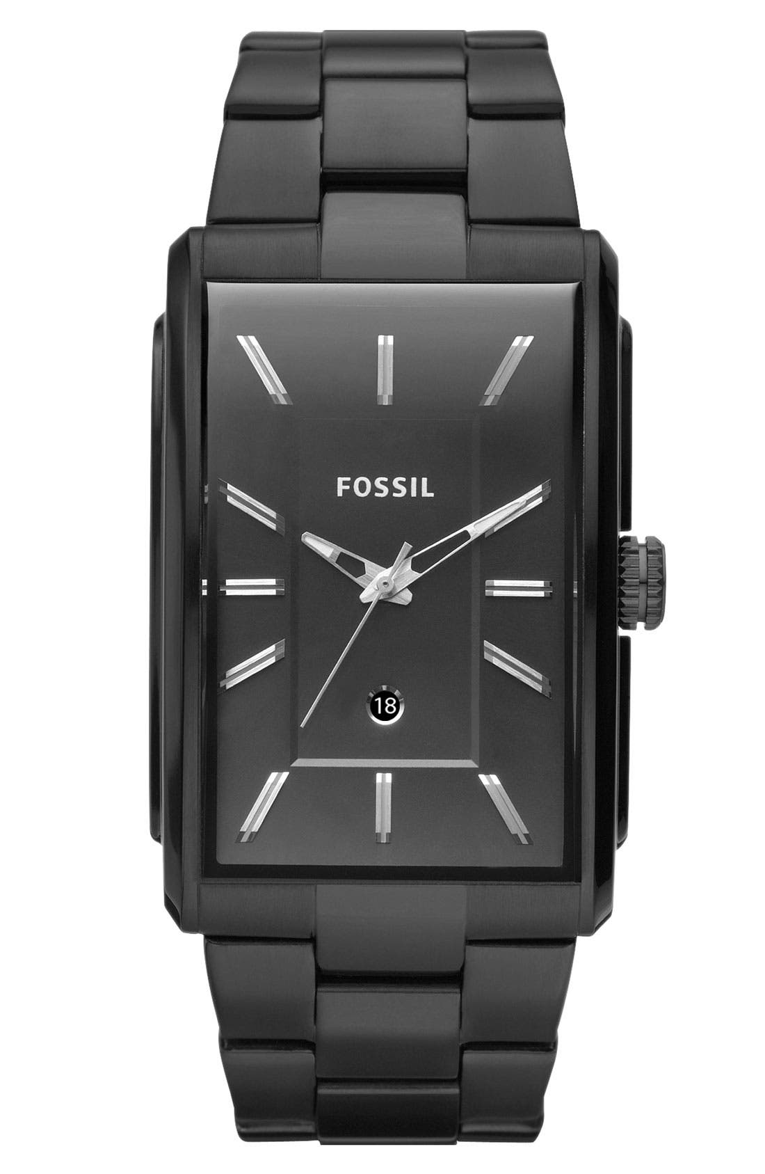 Alternate Image 1 Selected - Fossil 'Heritage' Rectangular Bracelet Watch, 33mm x 49mm
