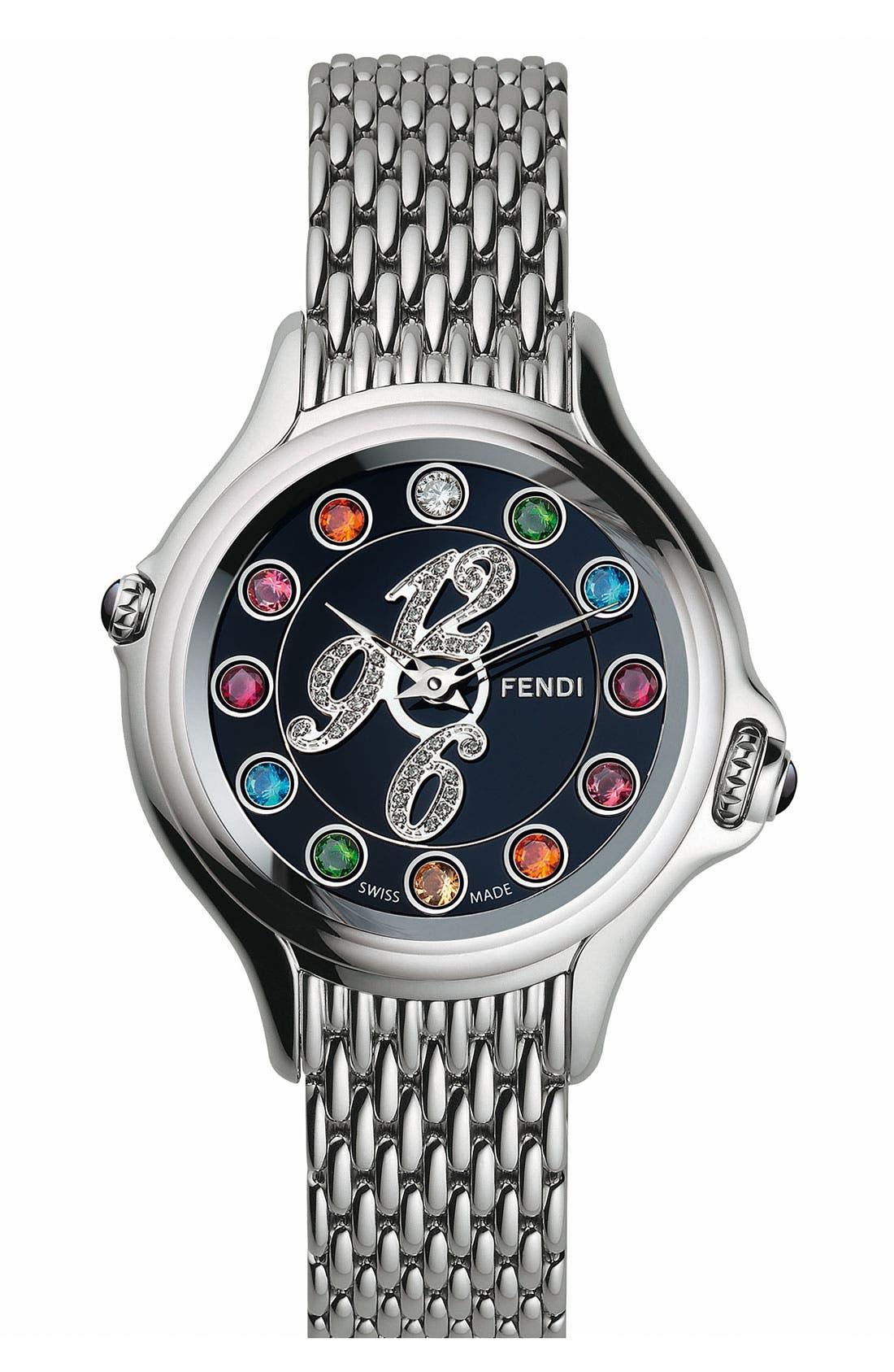 Alternate Image 1 Selected - Fendi 'Crazy Carats' Black Dial Diamond Watch, 38mm