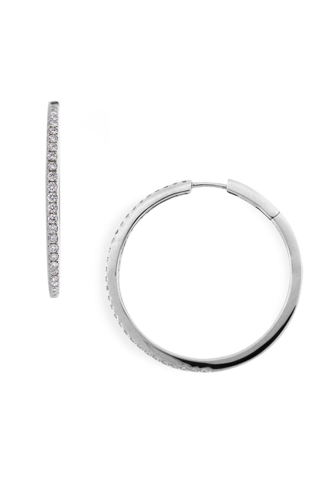 Main Image - Bony Levy 32mm Diamond Hoop Earrings (Nordstrom Exclusive)