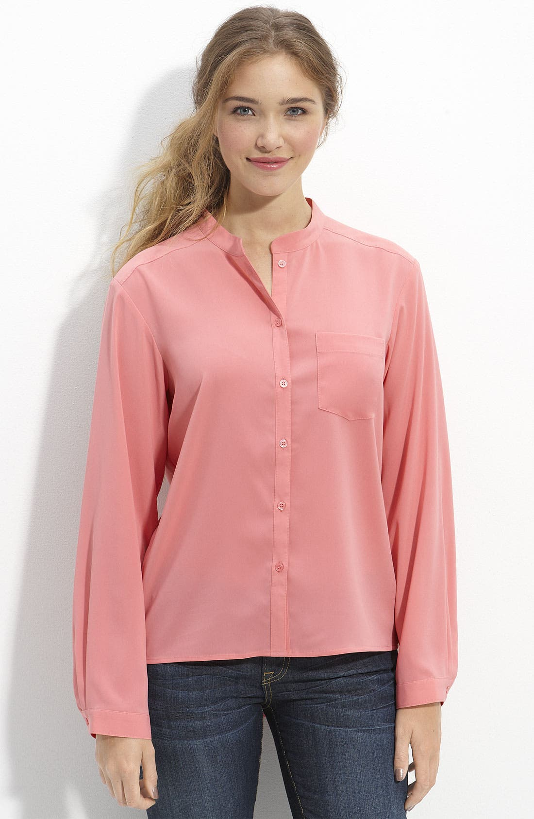 Alternate Image 1 Selected - Frenchi® Drop Tail Blouse (Juniors)