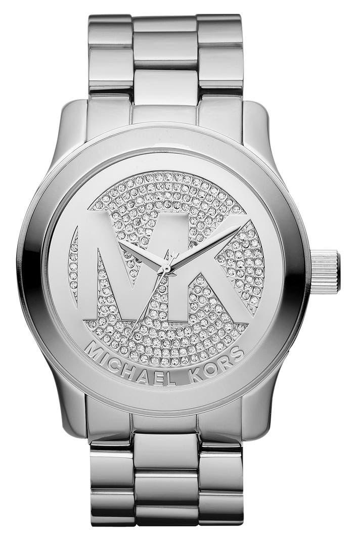 michael kors 39 runway 39 logo dial bracelet watch 45mm. Black Bedroom Furniture Sets. Home Design Ideas