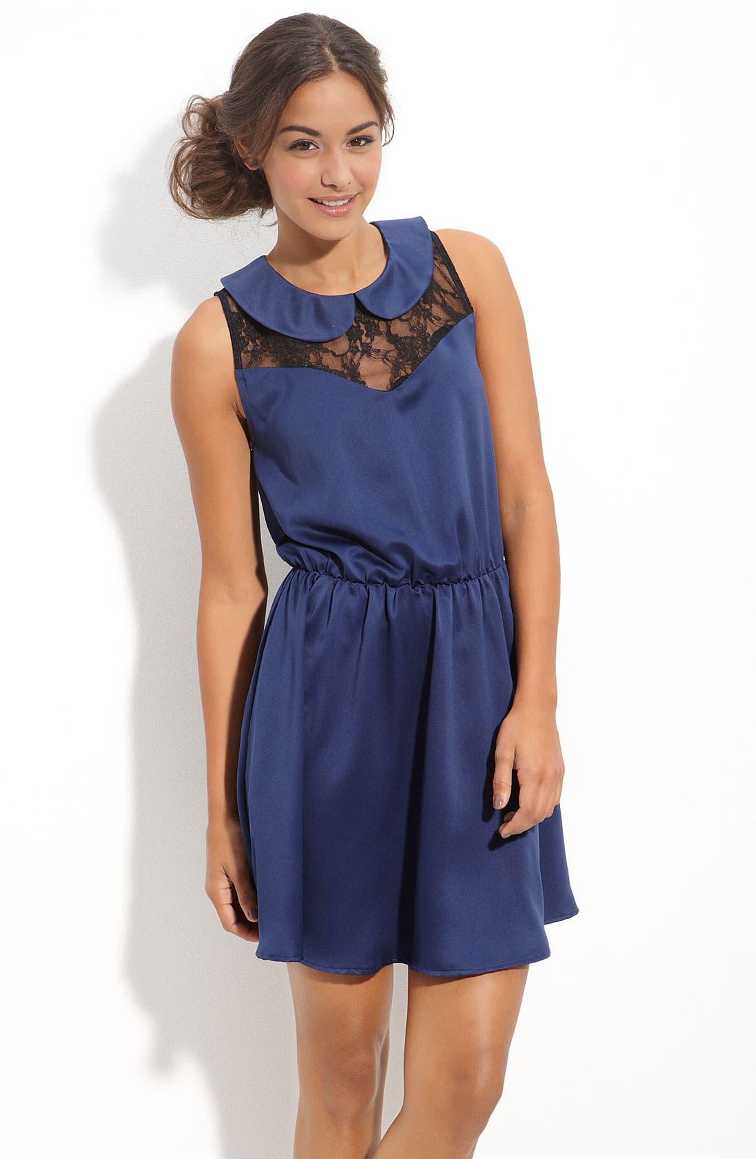 Main Image - Mimi Chica Lace Inset Dress (Juniors)