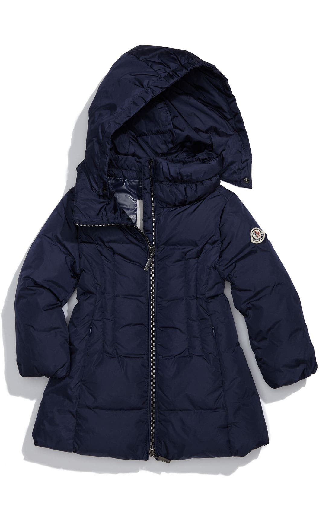 Main Image - Moncler Long Quilted Coat (Toddler)