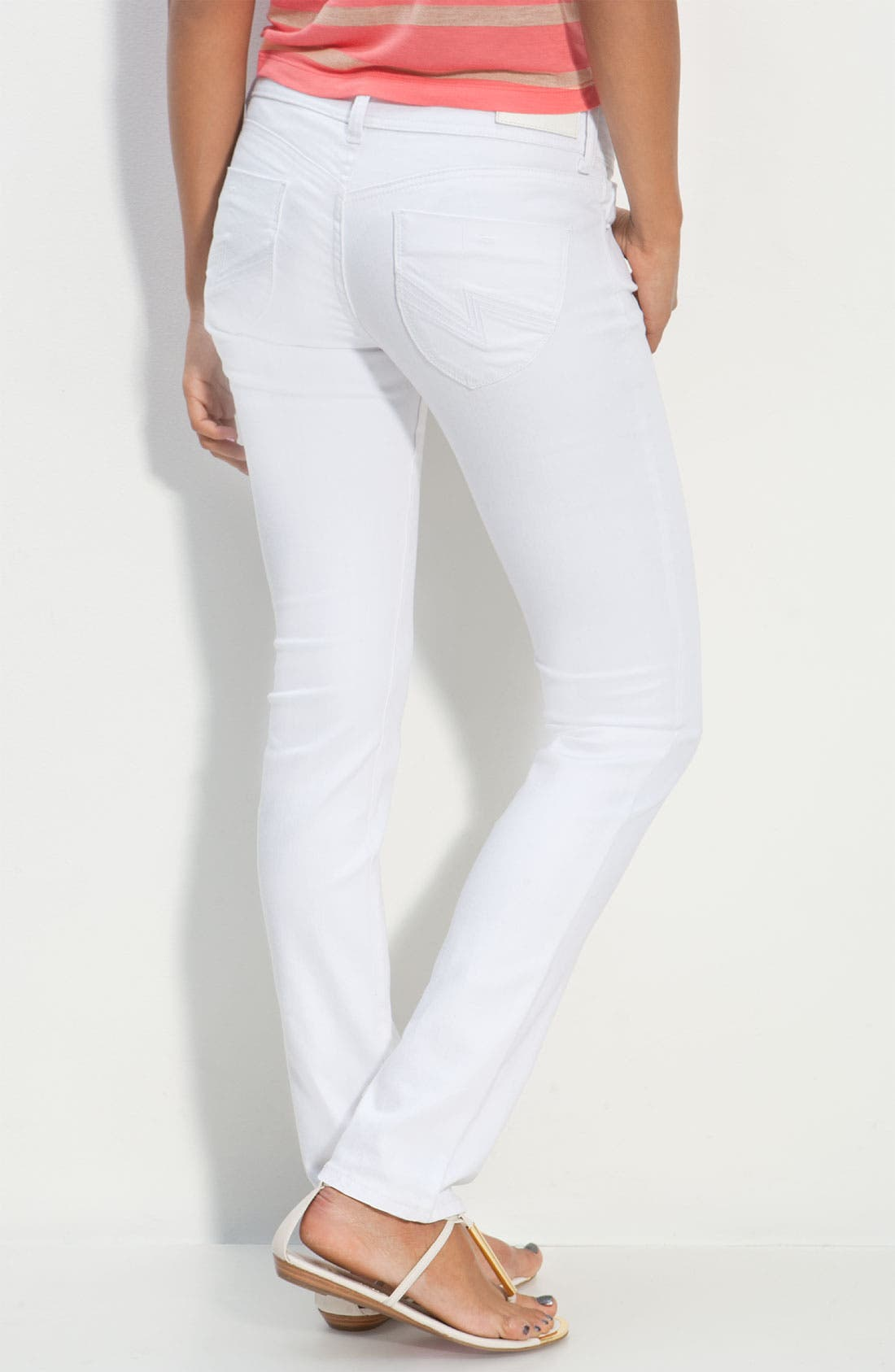 Alternate Image 1 Selected - S.O.N.G. Skinny Leg Jeans (Crystal White Wash) (Juniors)