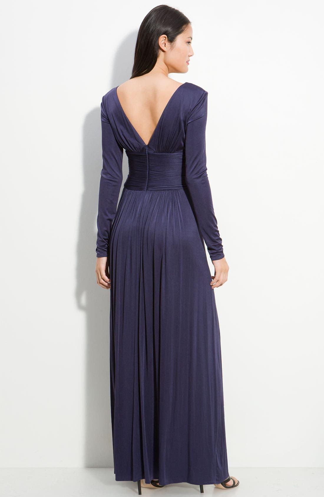 Alternate Image 2  - BCBGMAXAZRIA Iridescent Jersey Gown