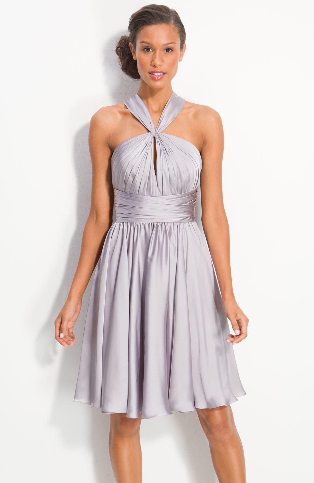 Alternate Image 1 Selected - ML Monique Lhuillier Bridesmaids Twist Front Charmeuse Dress (Nordstrom Exclusive)