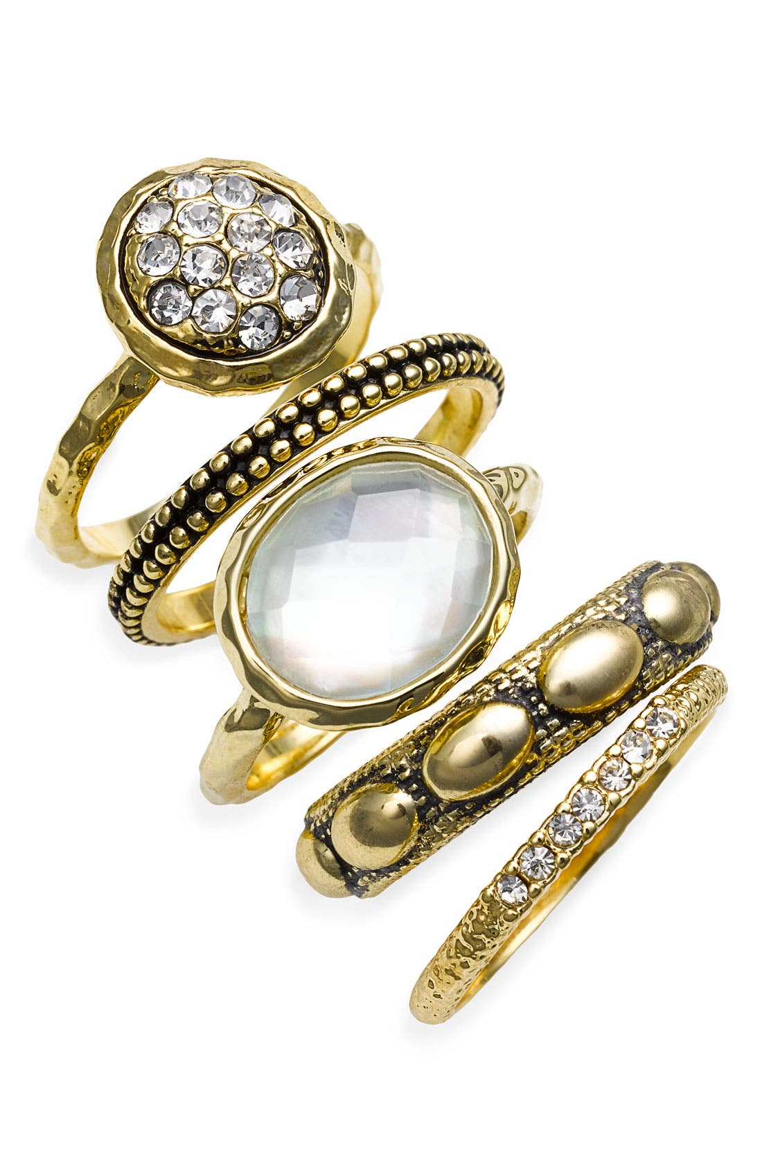 Main Image - Ariella Collection Multi Stone Stackable Rings (Set of 5)