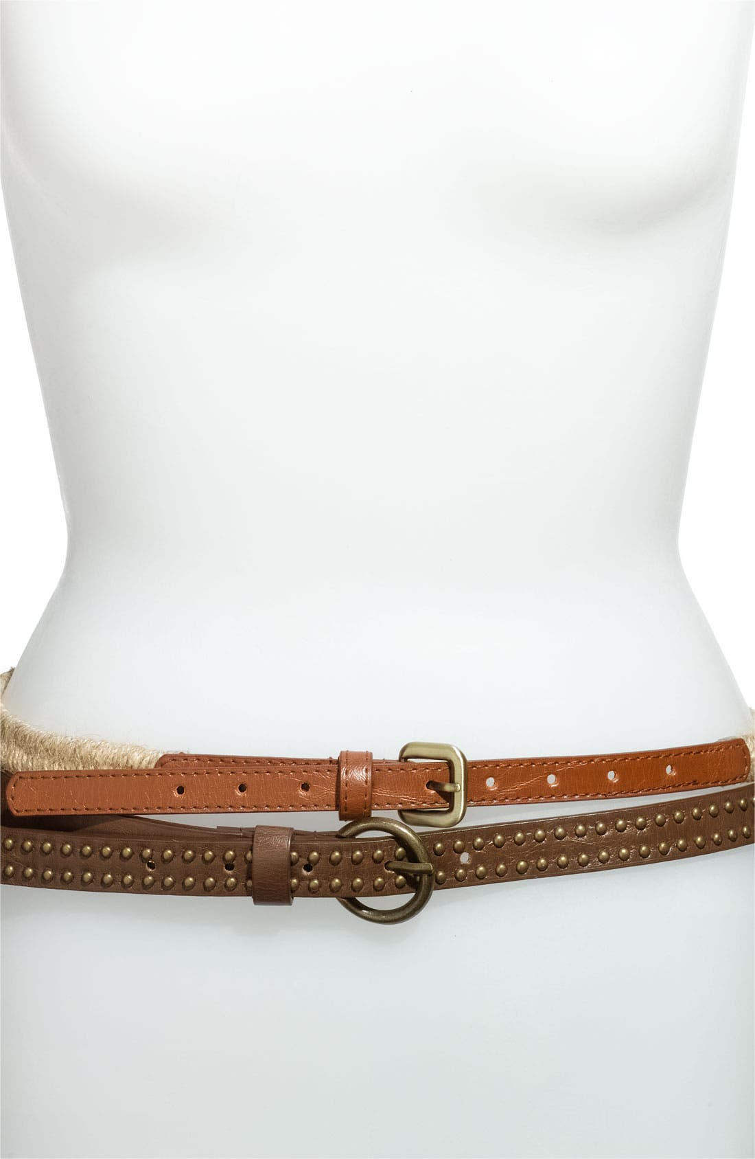 Alternate Image 1 Selected - Lulu Studded Faux Leather & Stretch Rope Belts (2-Pack)
