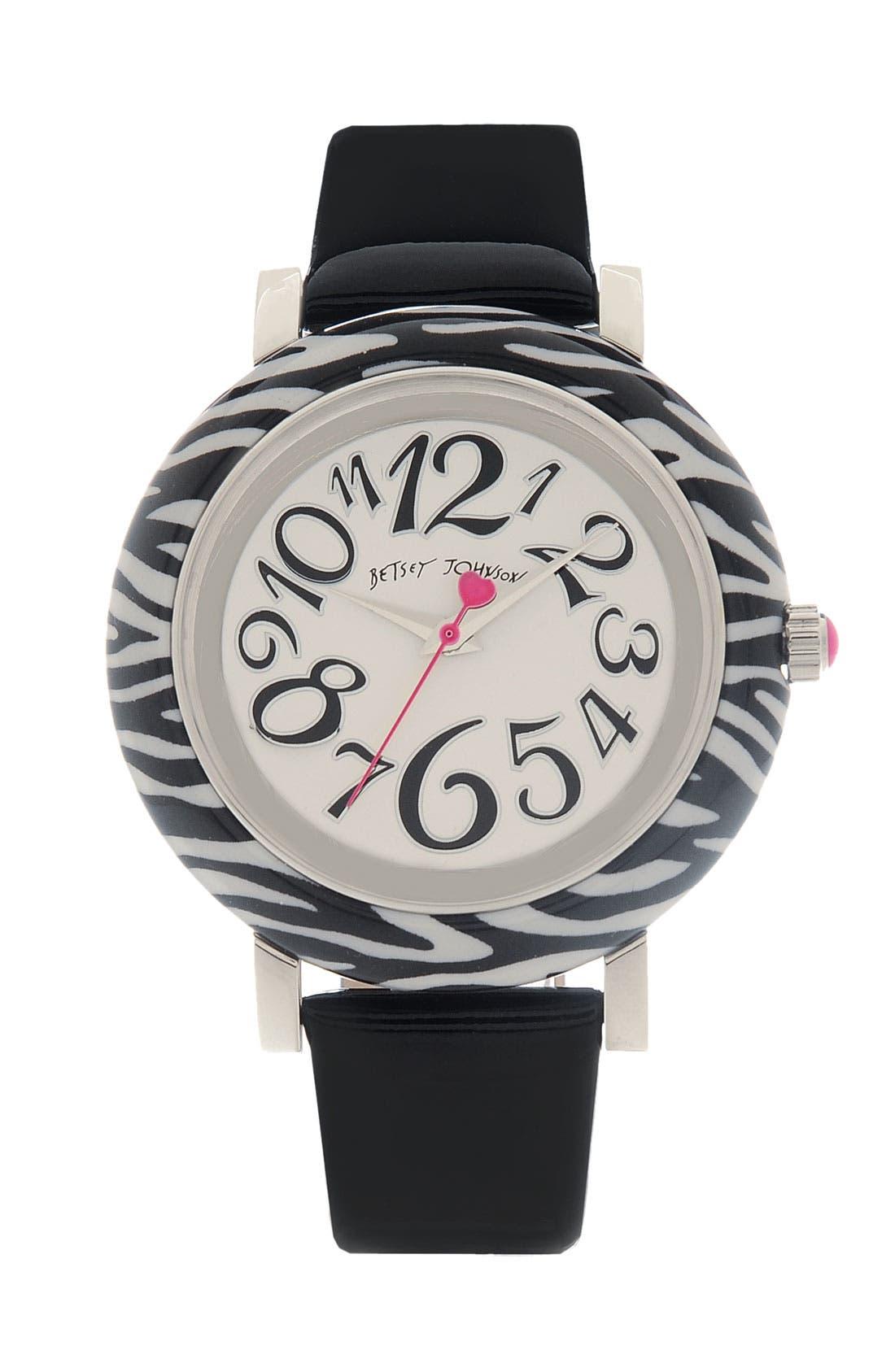 Alternate Image 1 Selected - Betsey Johnson 'Lots 'n' Lots of Time' Zebra Print Watch