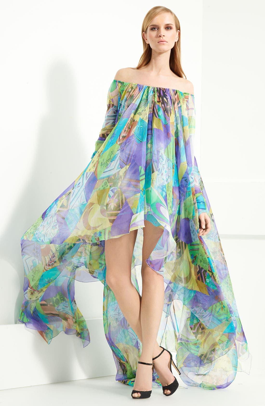 Alternate Image 3  - Emilio Pucci Patchwork Print Chiffon Gown