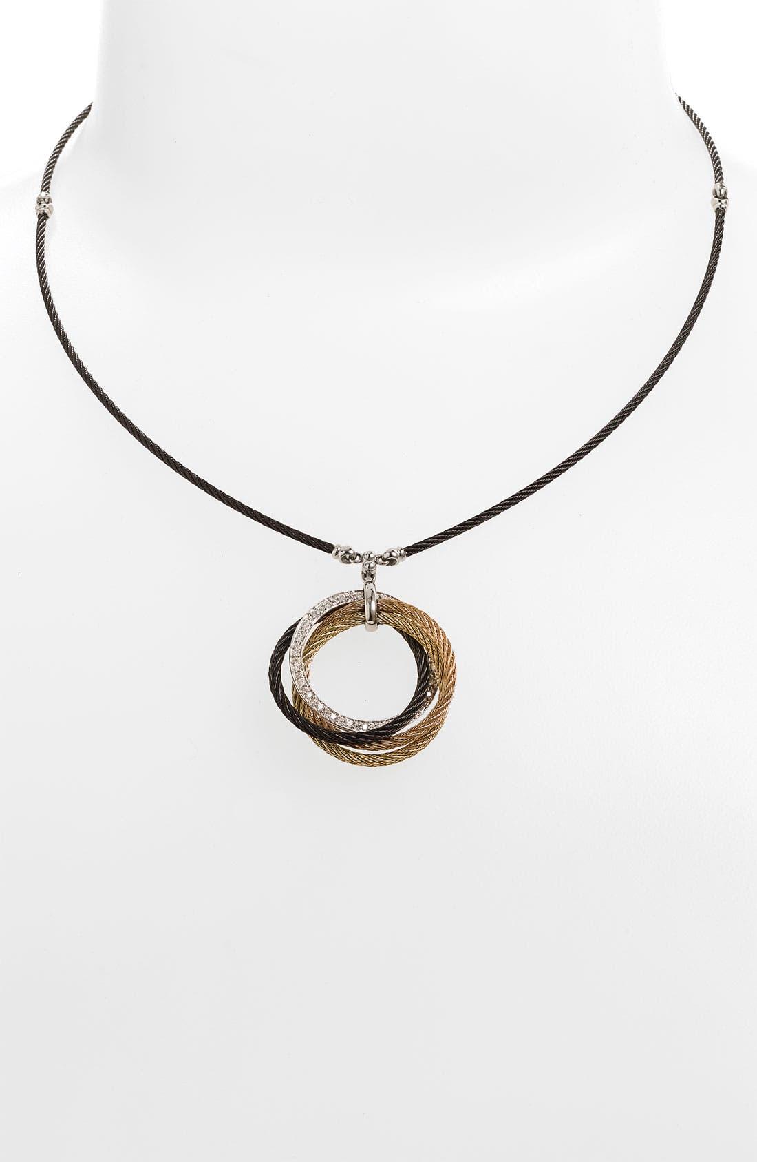 Alternate Image 1 Selected - ALOR® Interlocked Cable Diamond Pendant Necklace
