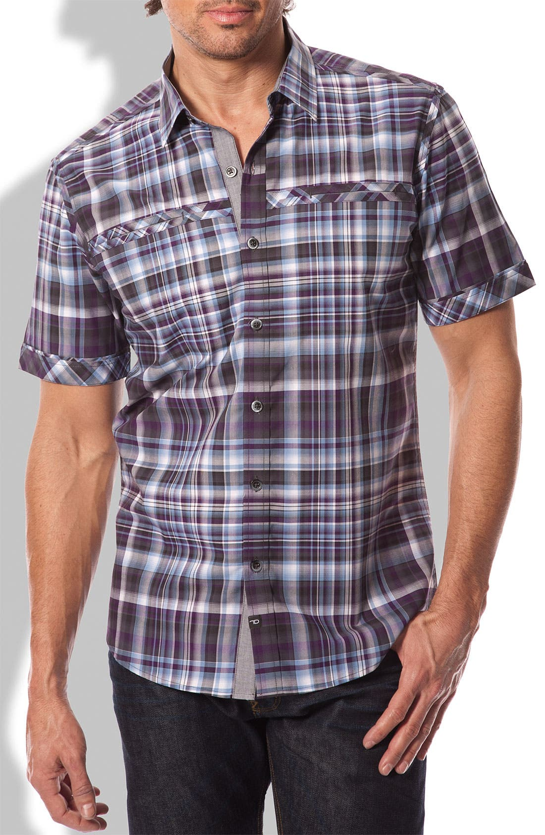 Main Image - 7 Diamonds 'Iridescent' Plaid Woven Short Sleeve Shirt