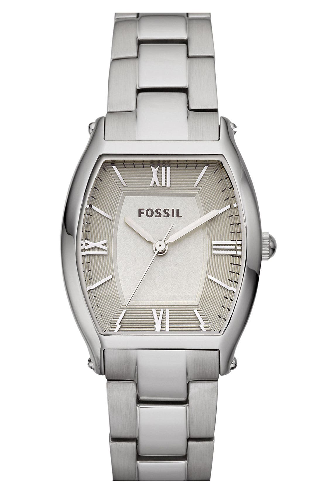 Alternate Image 1 Selected - Fossil 'Mini Wallace' Tonneau Bracelet Watch, 28mm