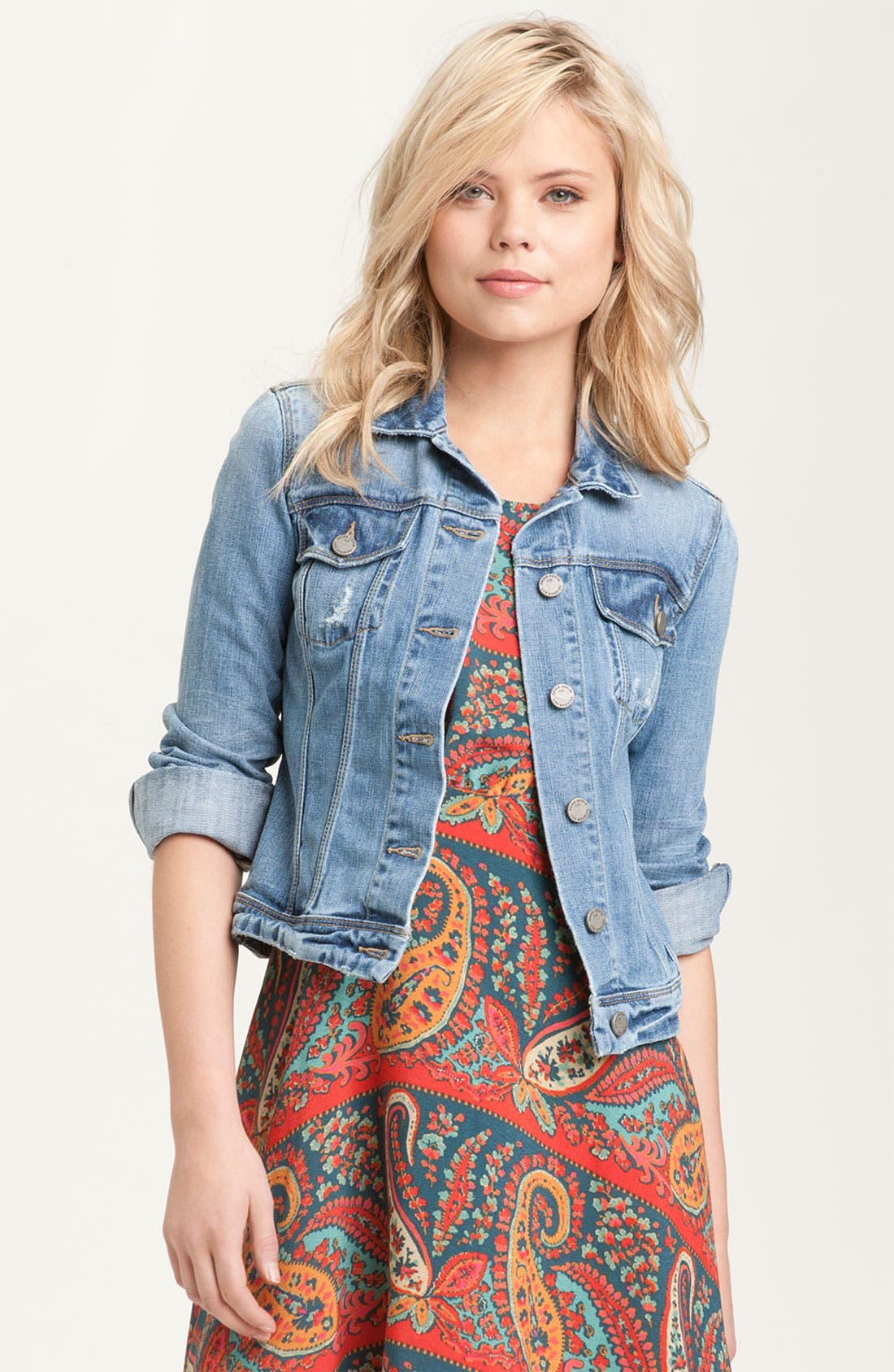 Alternate Image 1 Selected - Paige Denim 'Vermont' Distressed Denim Jacket