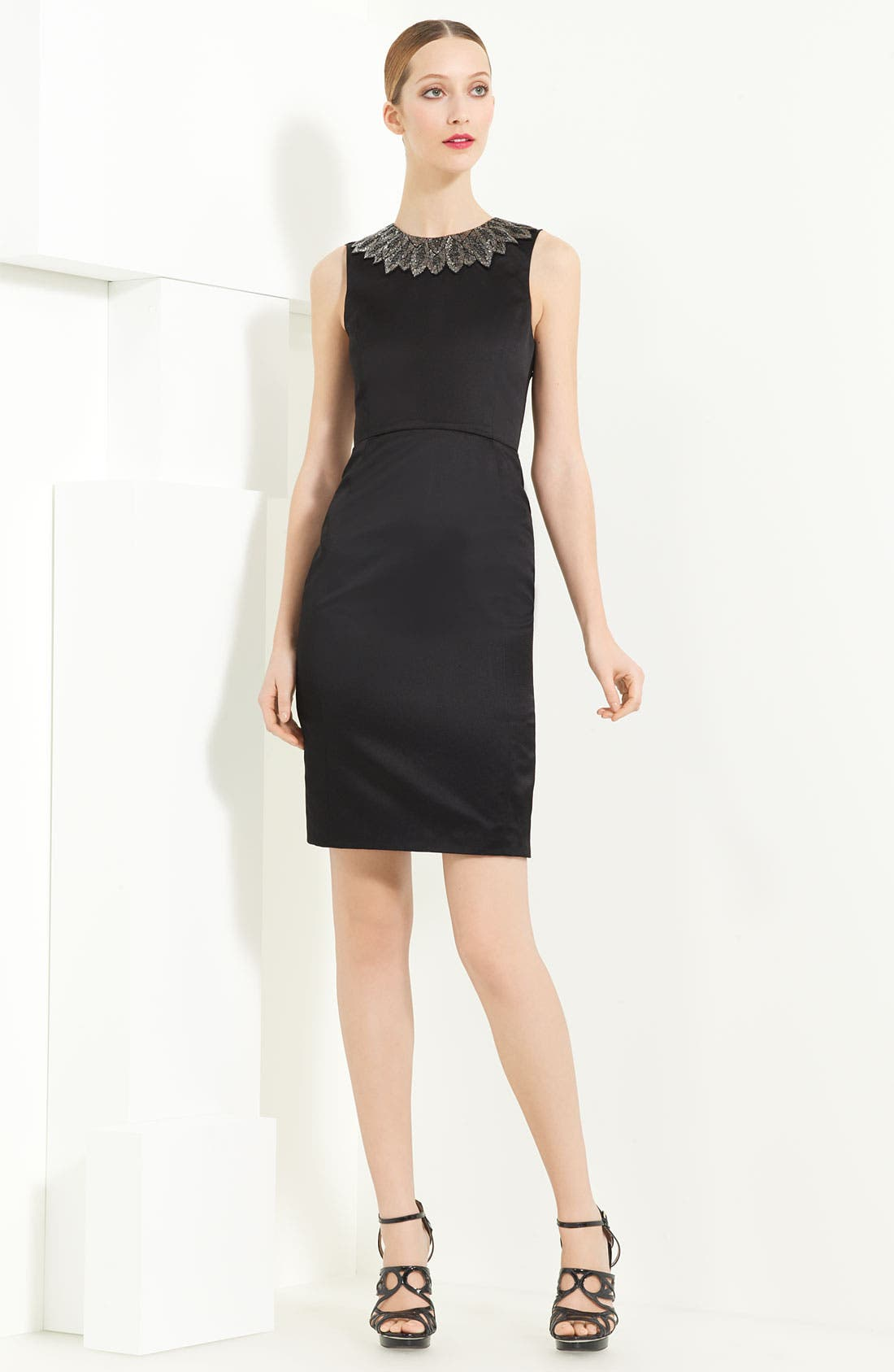 Main Image - Jason Wu Duchesse Satin Dress with Embroidered Collar