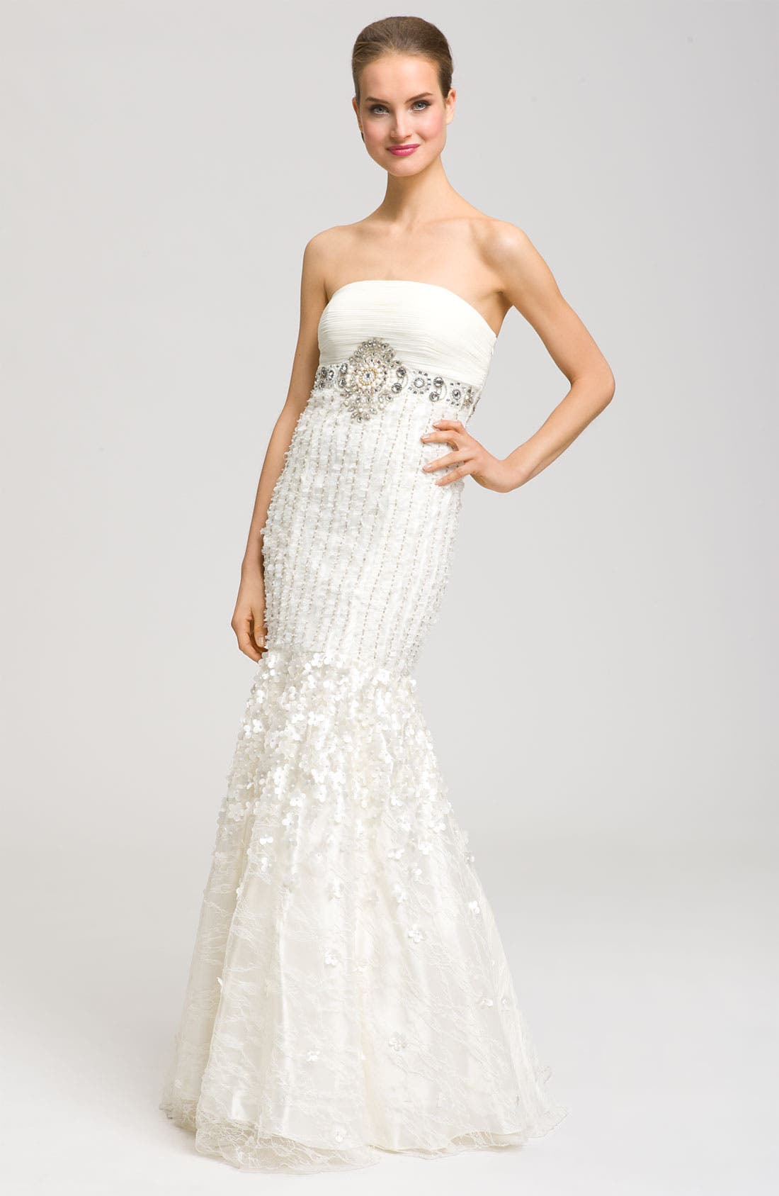 Alternate Image 1 Selected - Sue Wong Drop Waist Embellished Mermaid Gown