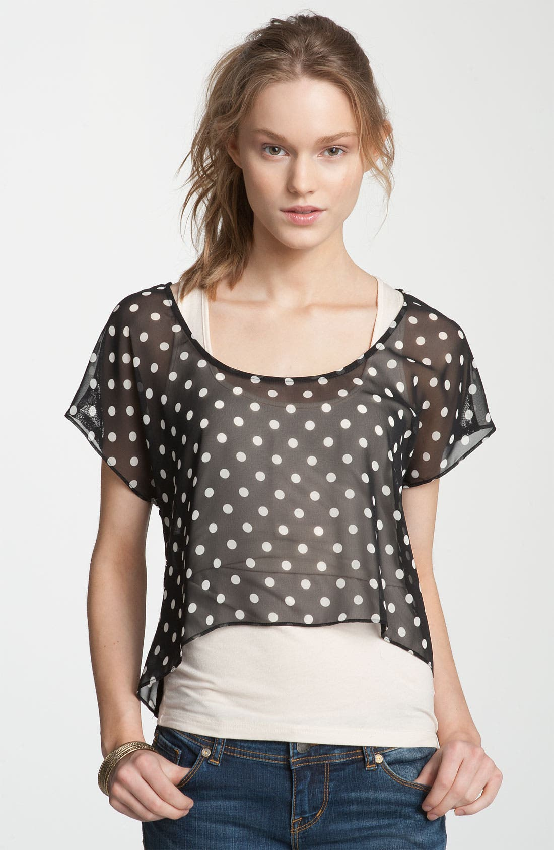 Main Image - Soprano Sheer Chiffon & Lace Tee (Juniors)