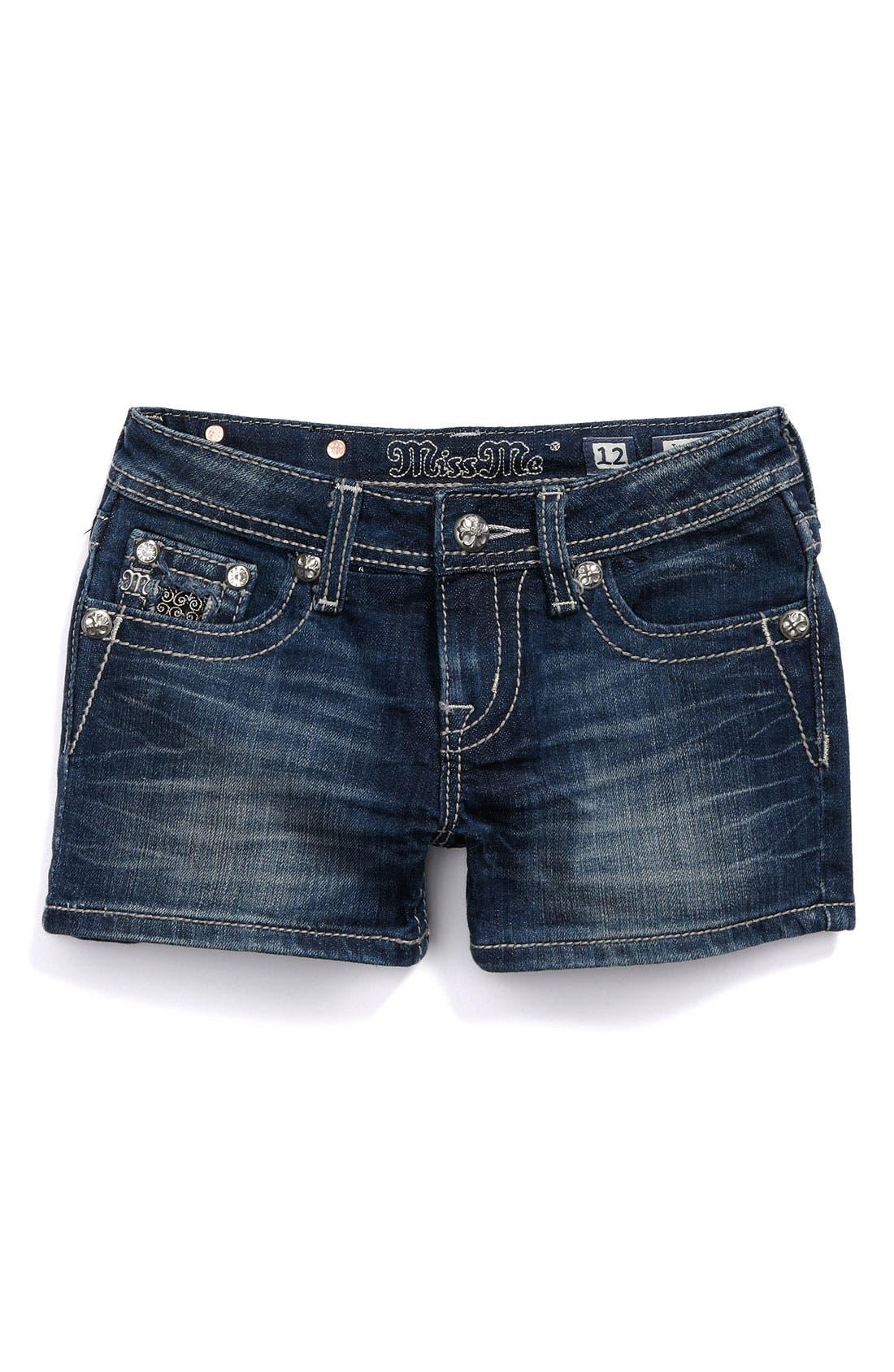 Alternate Image 2  - Miss Me Pointed Flap Pocket Shorts (Big Girls)