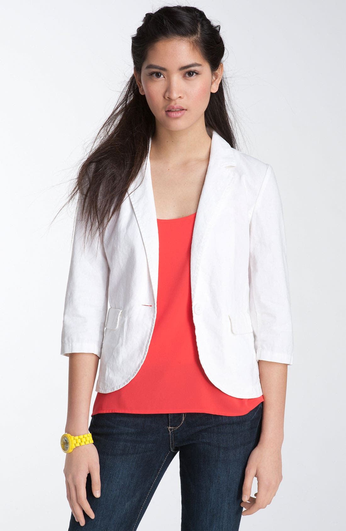 Main Image - Frenchi®  Linen & Cotton Blazer (Juniors)