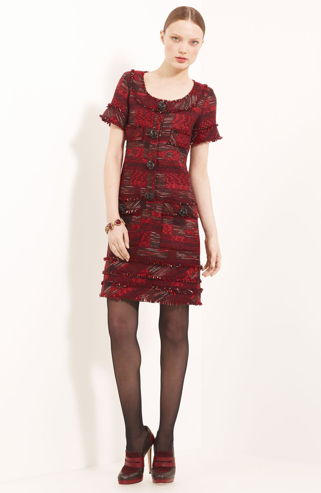 Main Image - Oscar de la Renta Mixed Media Tweed Dress