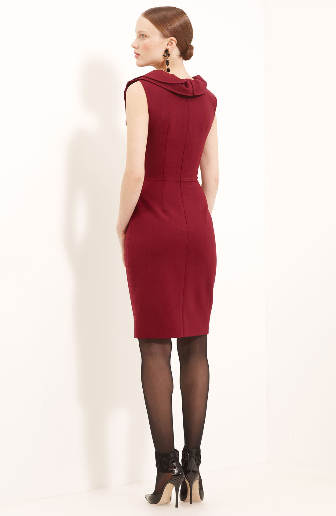 Alternate Image 2  - Oscar de la Renta Ruffle Collar Stretch Wool Dress
