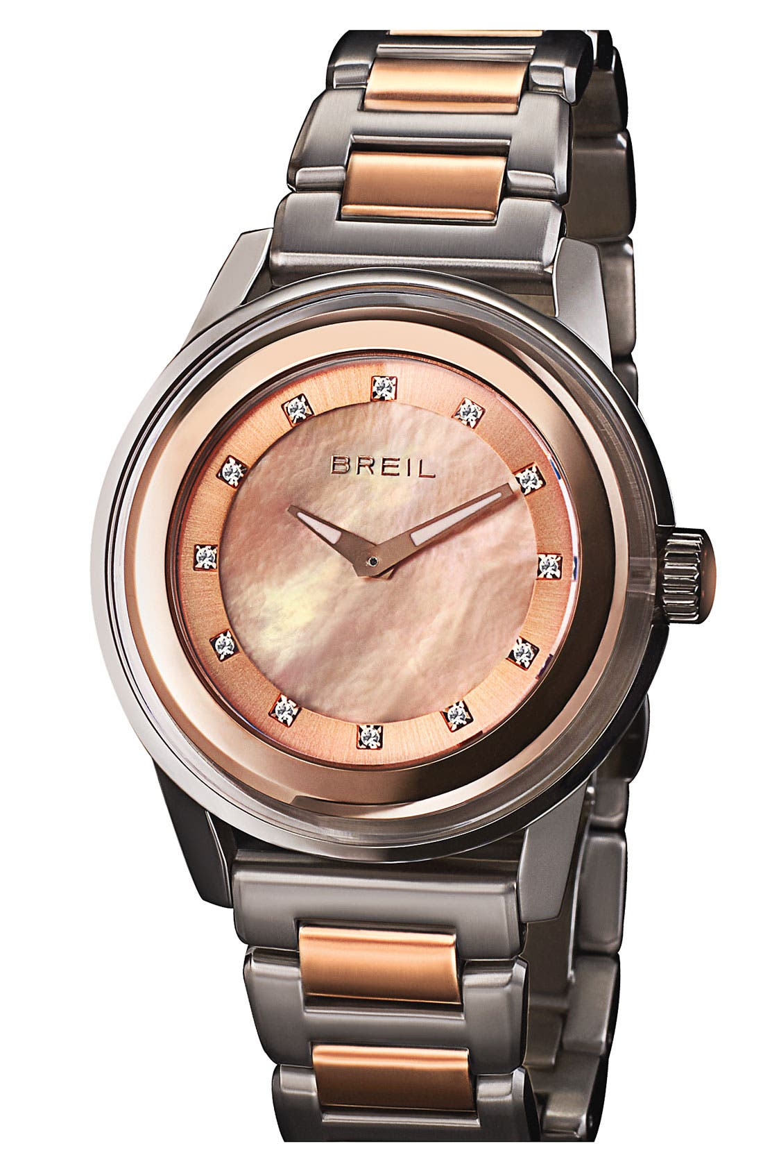 Alternate Image 1 Selected - Breil 'Orchestra' Crystal & Rose Gold Bracelet Watch, 40mm