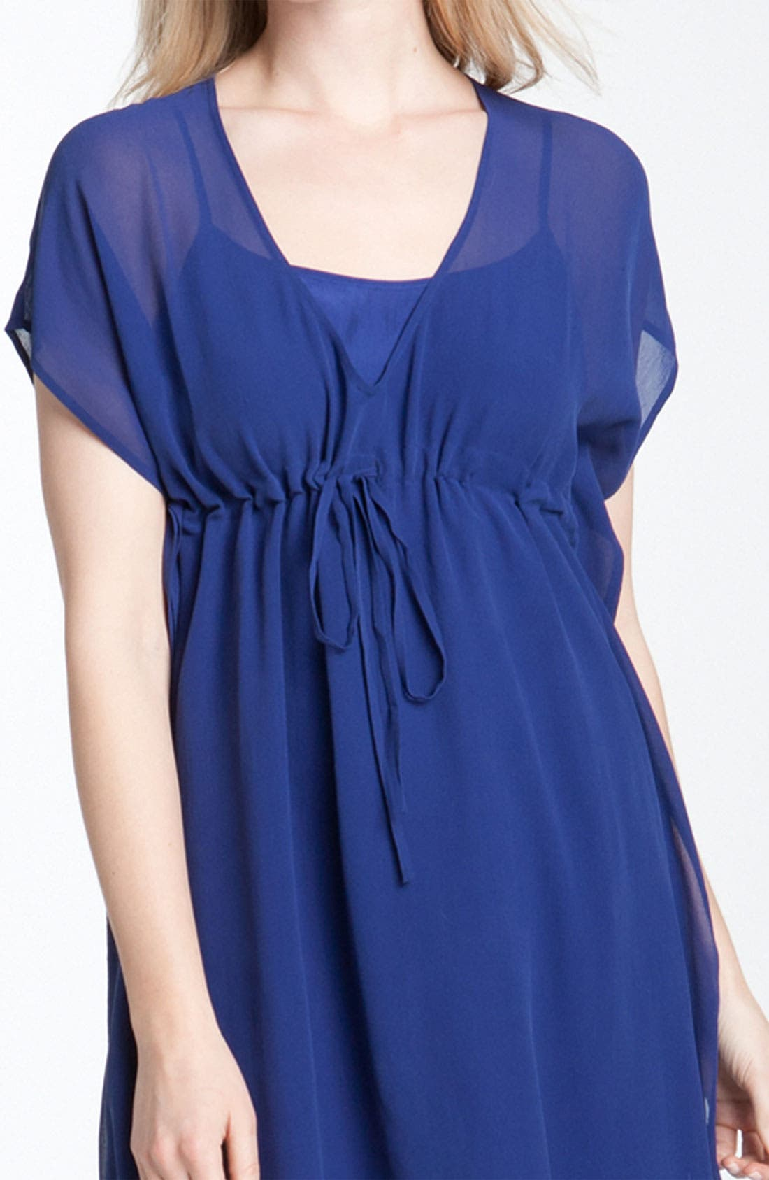 Alternate Image 3  - Eileen Fisher V-Neck Silk Chiffon Dress