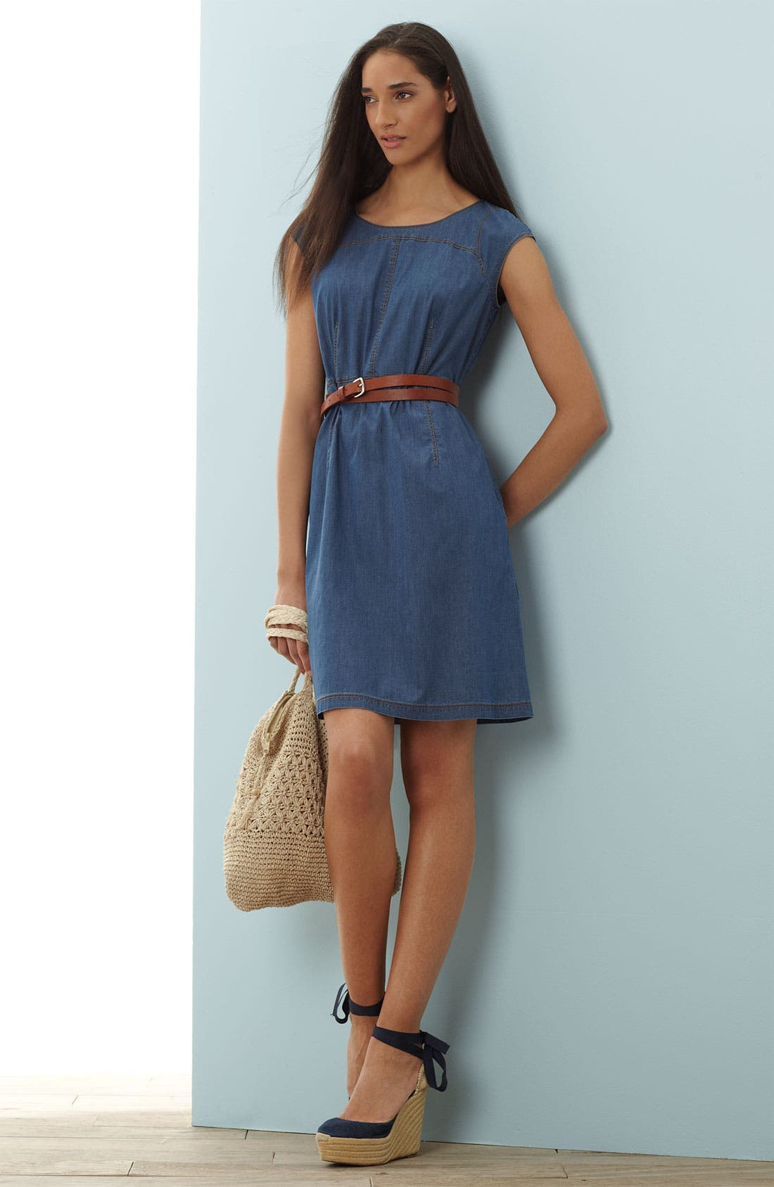 Alternate Image 1 Selected - Lafayette 148 New York Denim Dress & Belt