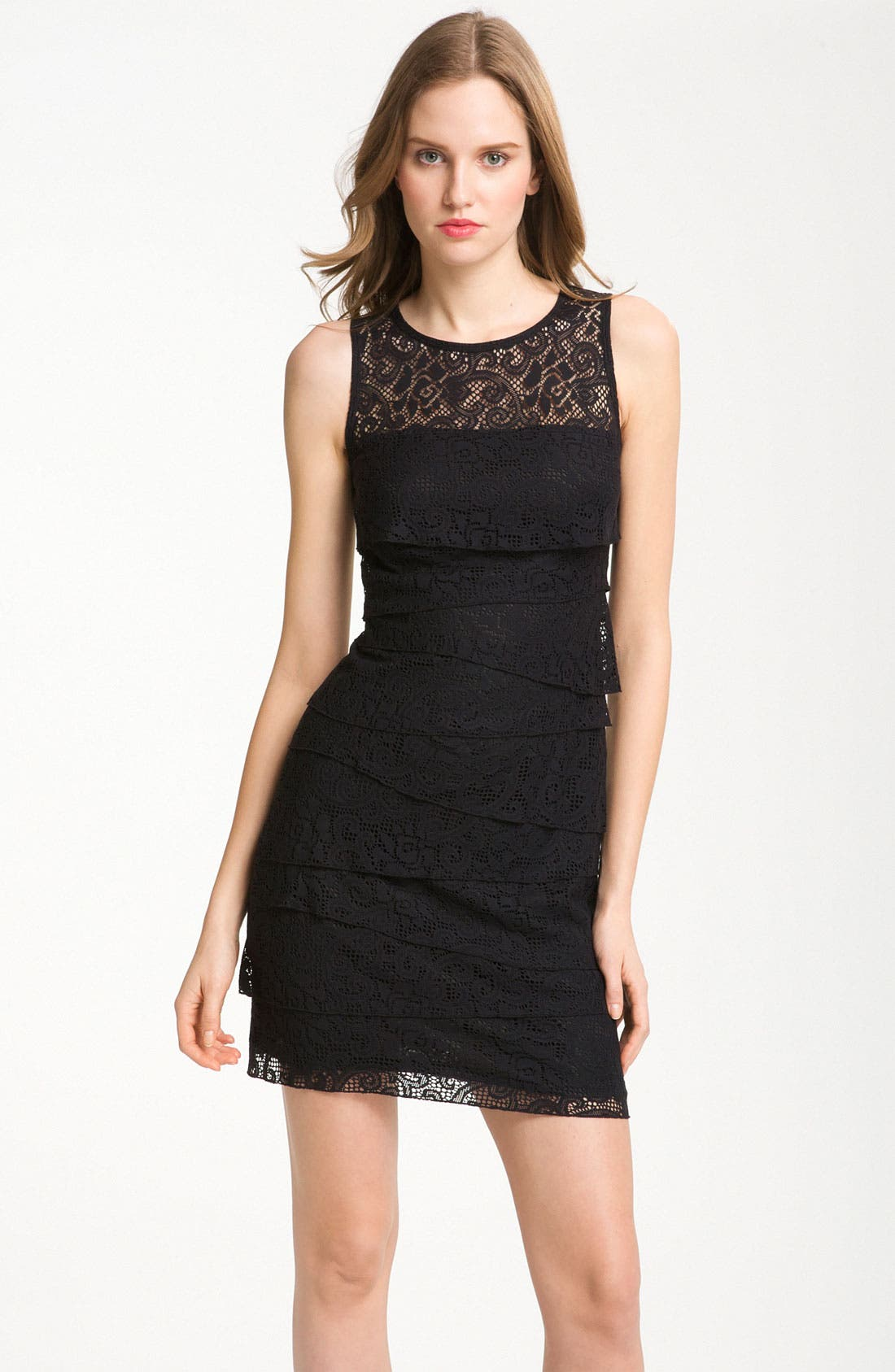 Alternate Image 1 Selected - Laundry by Shelli Segal Tiered Lace Sleeveless Minidress