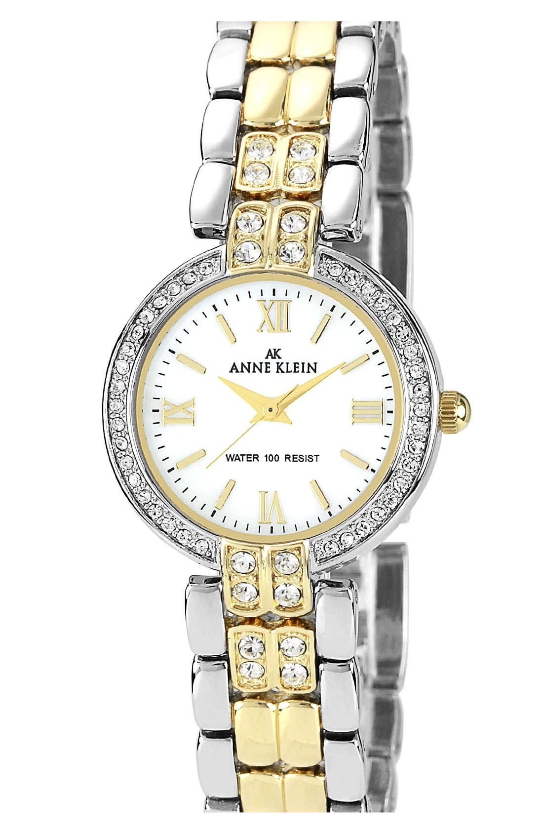 Alternate Image 1 Selected - Anne Klein Crystal Two Tone Bracelet Watch