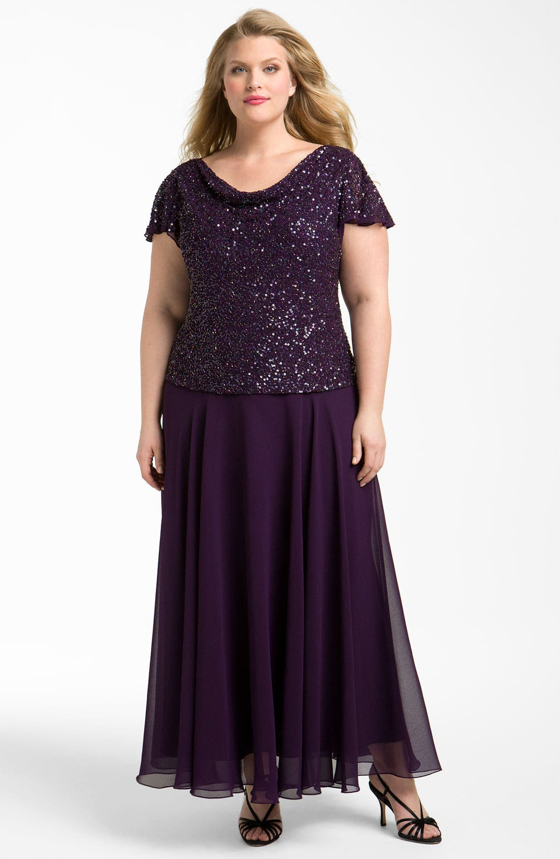 Alternate Image 1 Selected - J Kara Embellished Mock Two-Piece Dress (Plus Size)