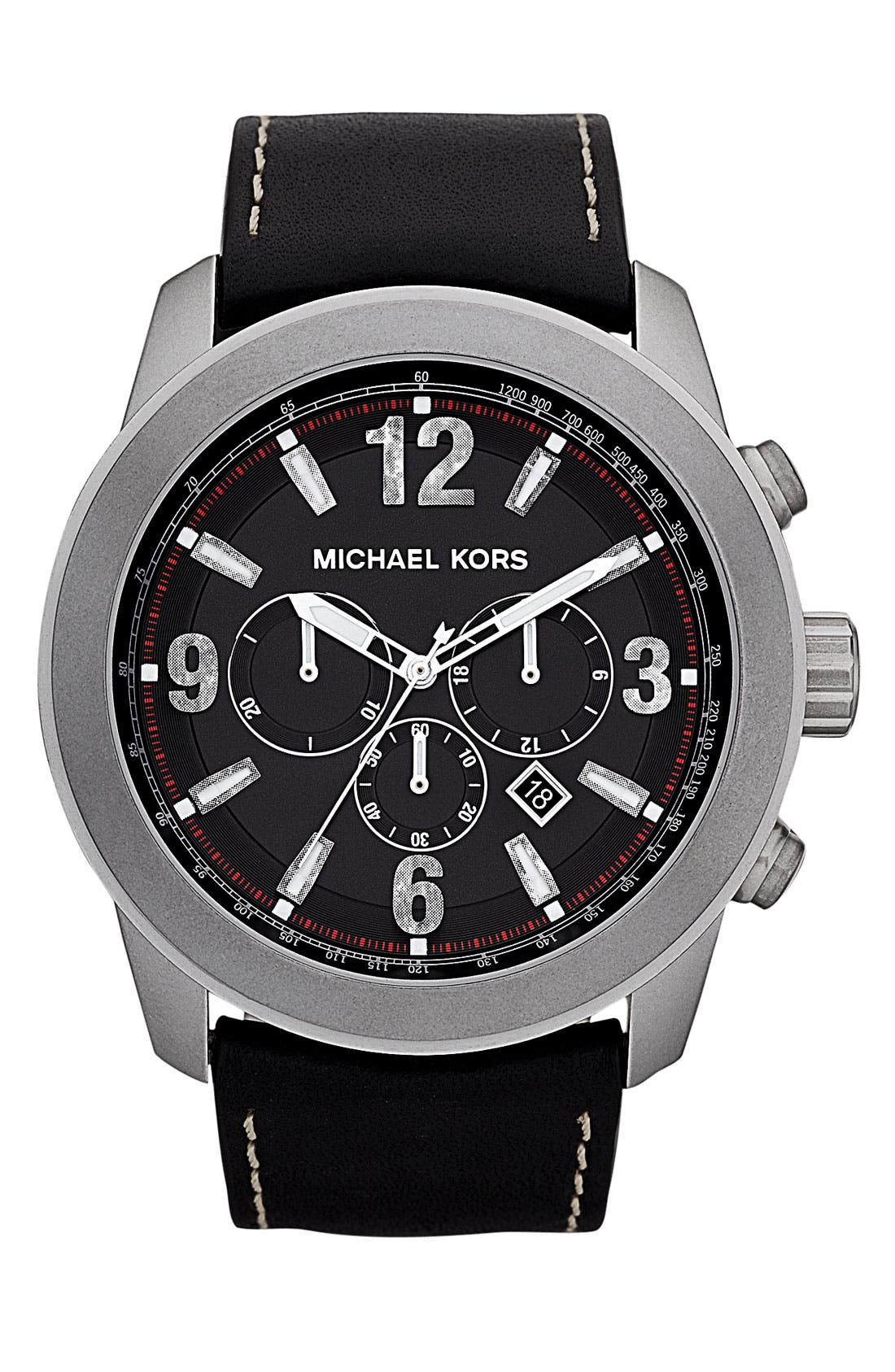 Main Image - Michael Kors 'Runway - Extra Large' Leather Strap Watch