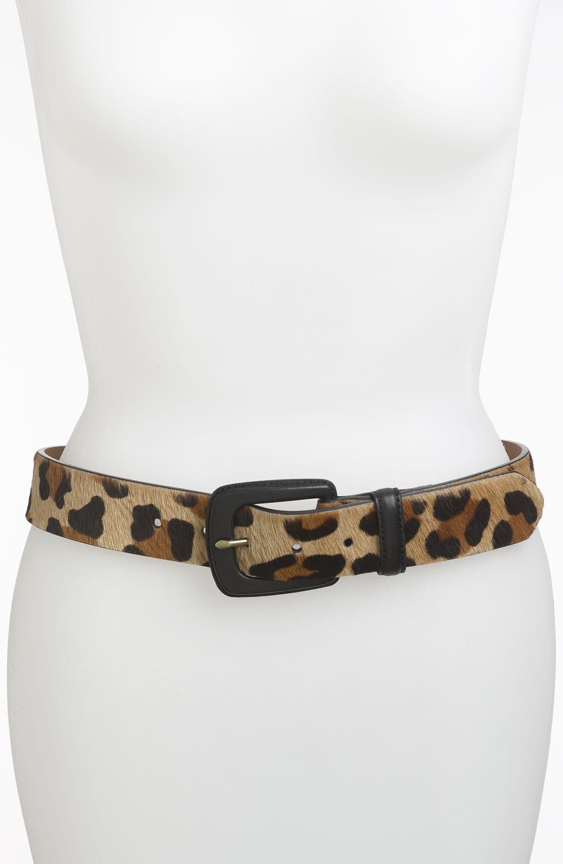 Alternate Image 1 Selected - Lauren Ralph Lauren Leopard Print Calf Hair Belt