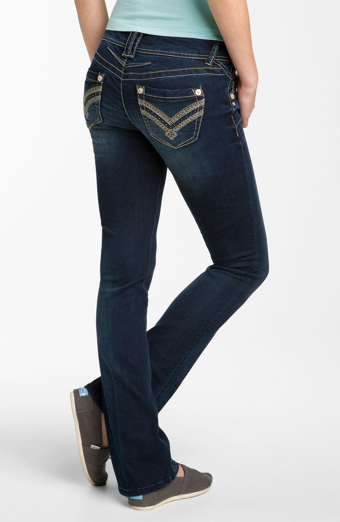 Alternate Image 1 Selected - Artisan Crafted 'Itty Bitty' Bootcut Jeans  (Juniors)