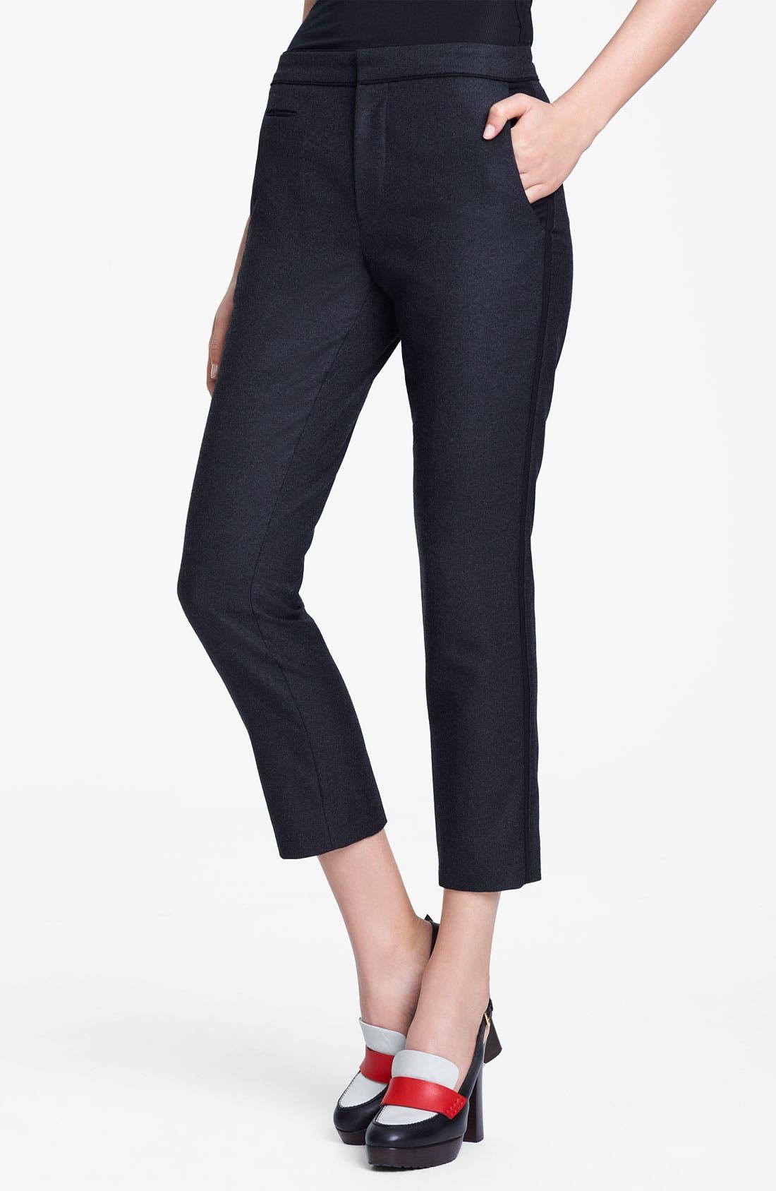 Main Image - Marni Edition Crop Straight Leg Flannel Trousers