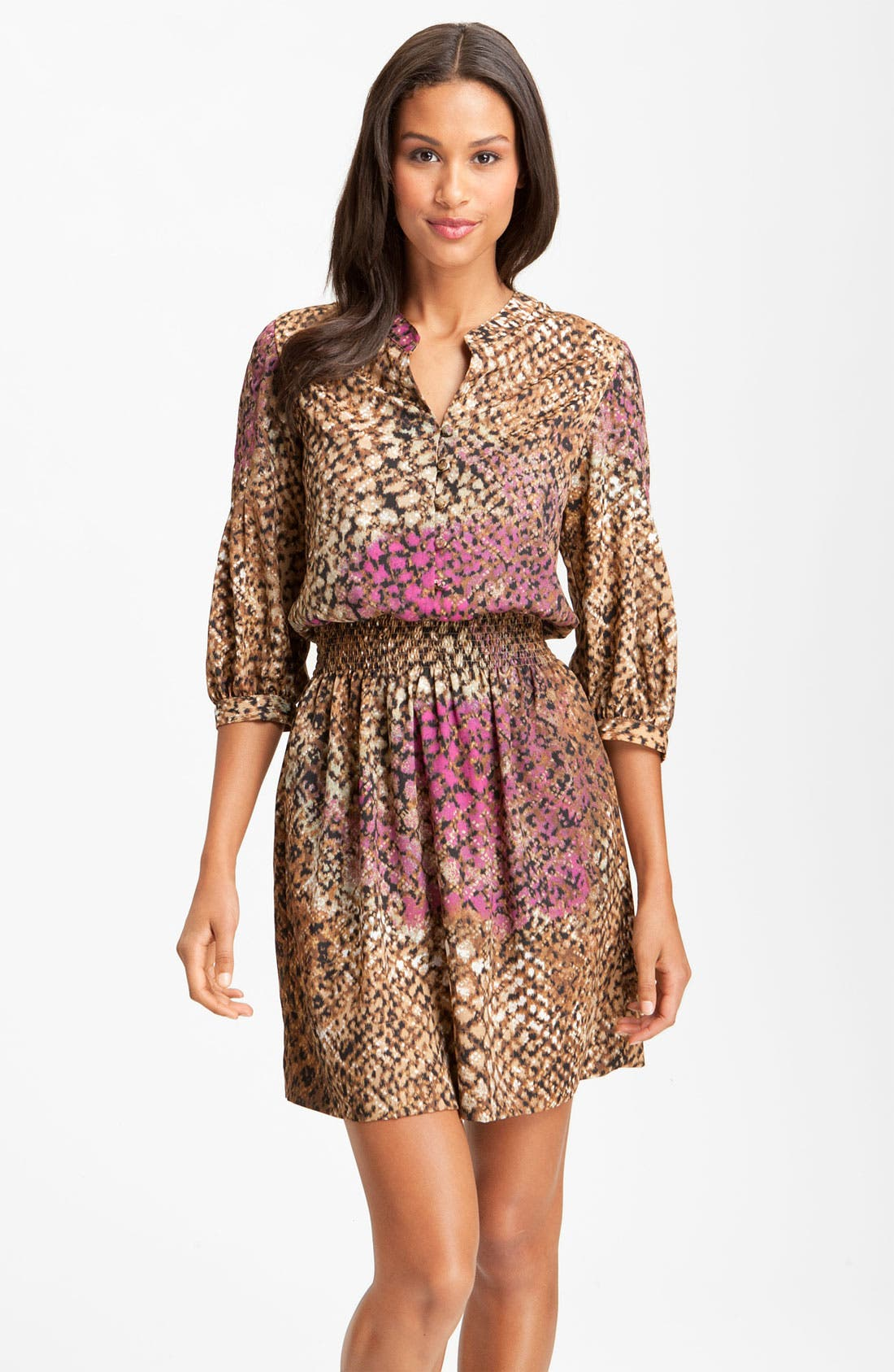 Alternate Image 1 Selected - Eliza J Smocked Animal Print Crêpe de Chine Shirt Dress