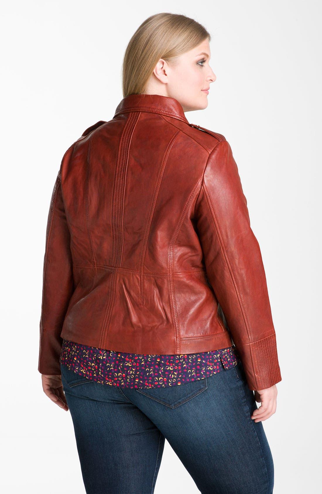 Alternate Image 2  - Bernardo Leather Scuba Jacket (Plus) (Online Exclusive)
