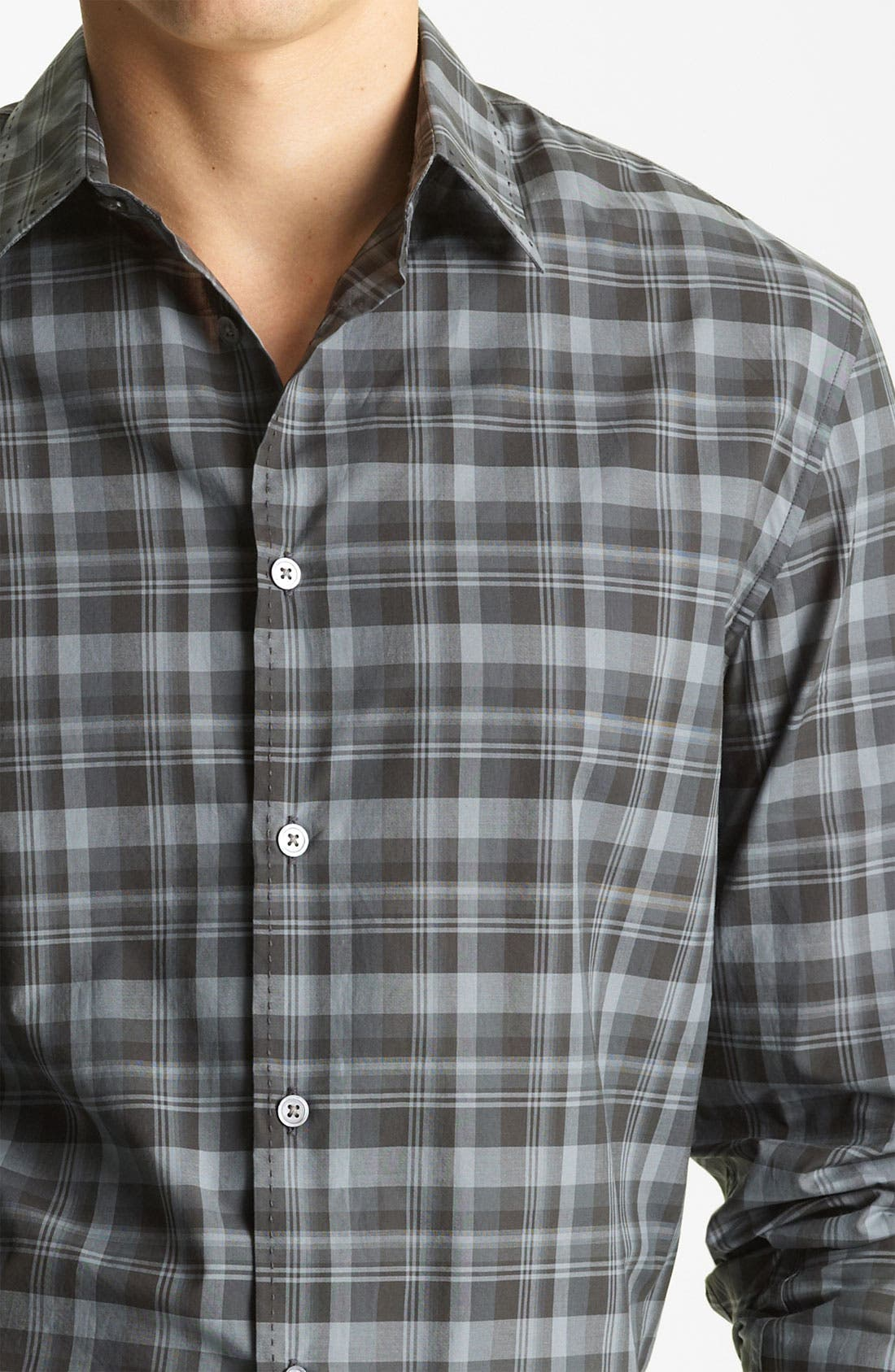 Alternate Image 3  - John Varvatos Collection Pickstitch Plaid Woven Shirt